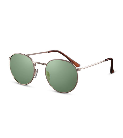 Simple Round Sunglasses With Green Smoke Lens