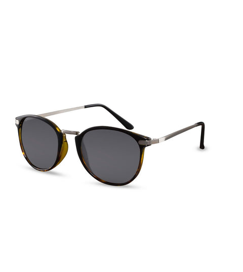 Round Sunglasses In Black With Grey Lens