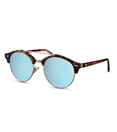 Retro Sunglasses in Tortoiseshell With Blue Flash Lens