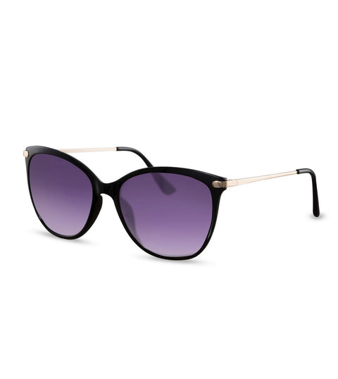 Cat Eye Sunglasses in Black With Purple Lens