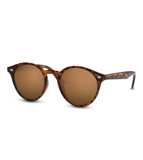 Round Tortoiseshell Sunglasses With Brown Smoke Lens