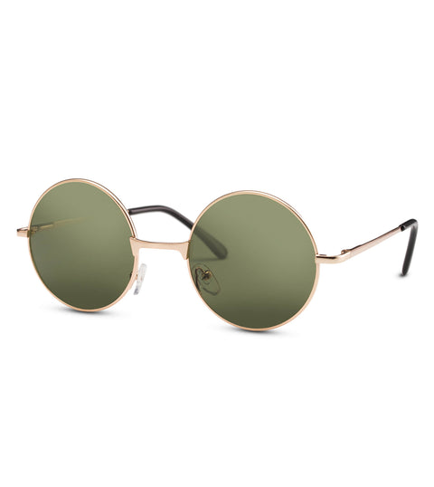 Round Green Lens Sunglasses In Gold