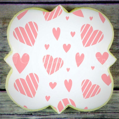 Whimsy Hearts Background Cookie Stencil Background