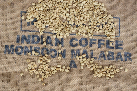 Indian monsoon unroasted green arabica coffee beans