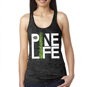 PINE LIFE - Women's Signature Tank, Burnout, Deep Slate