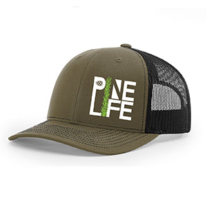 PINE LIFE Snapback Trucker Hat - Olive and black