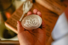 "Etched Selenite Meditation Palm stone ""Lotus Bloom"""