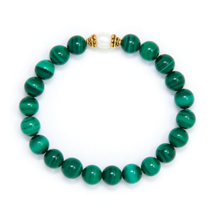 Malachite Mala Bracelet with Pearl