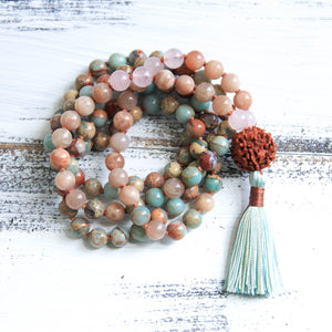 aqua terra jasper and sunstone mala necklace