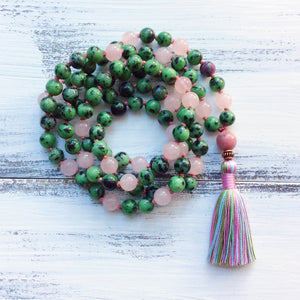 Ruby in Zoisite Rose Quartz Mala Necklace, yoga jewelry