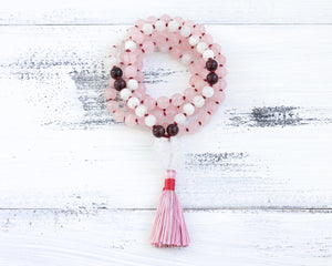 rose quartz moonstone mala prayer beads 108, crystal healing jewelry