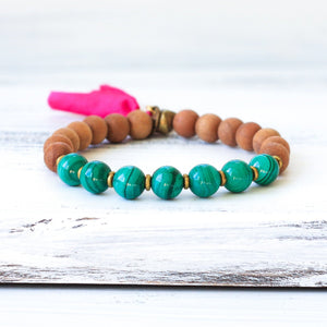 Malachite Sandalwood Mala Bracelet, yoga jewelry