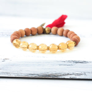 Citrine Sandalwood Mala Bracelet, yoga jewelry