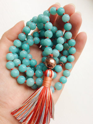 amazonite mala necklace with tassel