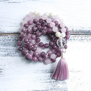 Lepidolite Rose Quartz Mala Necklace, yoga jewelry