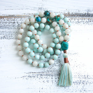 amazonite moonstone mala necklace