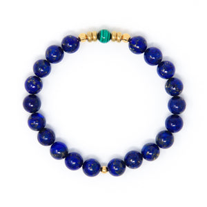 Lapis Lazuli Mala Bracelet with Malachite, yoga jewelry