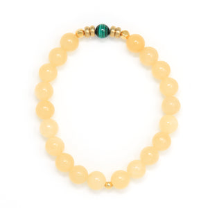 Calcite Mala Bracelet with Malachite, handmade jewelry