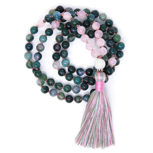 Moss Agate Rose Quartz mala necklace, yoga jewelry