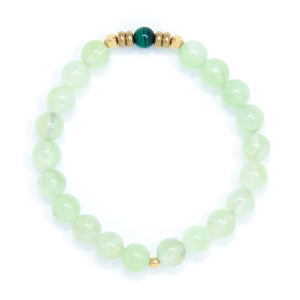 Prehnite Mala Bracelet with Malachite, yoga jewelry