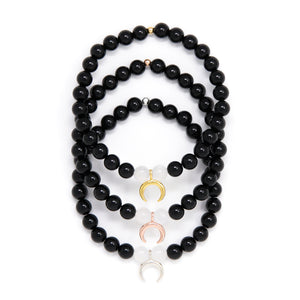 Moon Goddess Bracelet, Selenite and Black Tourmaline Mala Bracelet with either gold vermeil moon charm, rose gold vermeil moon or sterling silver moon