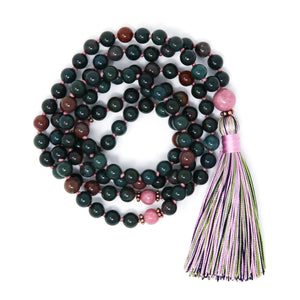 bloodstone rhodonite mala beads, spiritual jewelry