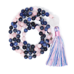 Sodalite Rose Quartz Mala Necklace, handmade jewelry