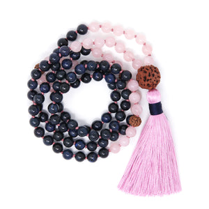 Dumortierite and Rose Quartz Mala Necklace, yoga jewelry