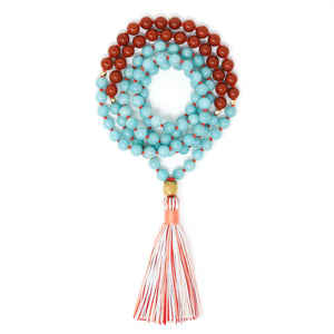 amazonite and red jasper mala necklace, crystal healing jewelry