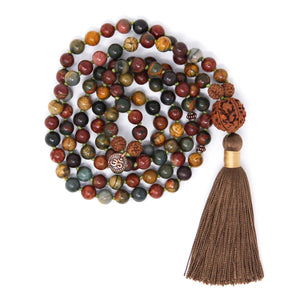 Red Creek Jasper 108 Mala Beads, long tassel necklace