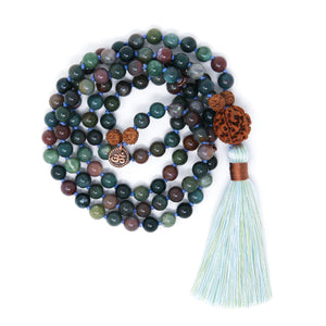 Indian Agate Mala Beads 108 with Rudraksha and Om charm, spiritual jewelry