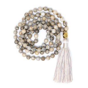 fossil coral mala beads 108, long beaded tassel necklace