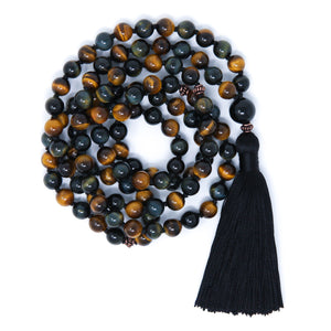 Blue Yellow Tiger's Eye Mala Necklace, yoga jewelry