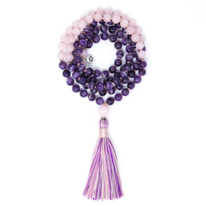 Chevron Amethyst Rose Quartz Mala Necklace, yoga jewelry