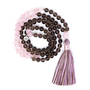 Rose Quartz and Smoky Quartz Mala Necklace, yoga jewelry