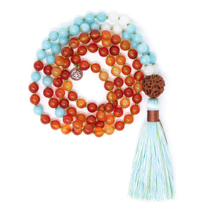 Carnelian Amazonite Mala Necklace, yoga jewelry