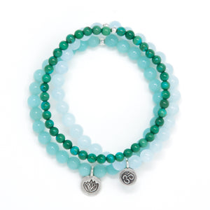 Turquoise, Aquamarine and Amazonite Healing Bracelet Set, modern yoga jewelry