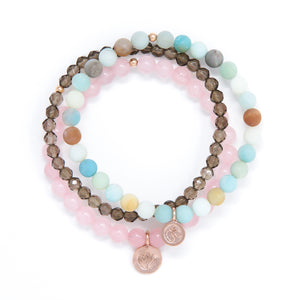Matte Amazonite, Rose Quartz, Smoky Quartz Healing Bracelet Set, modern yoga jewelry