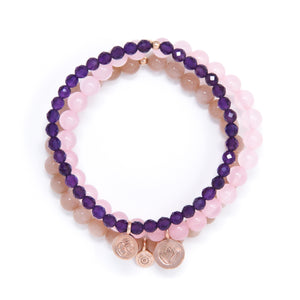 Amethyst, Rose Quartz, Sunstone Healing Bracelet Set, modern yoga jewelry