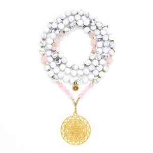 Howlite and Rose Quartz Mala Necklace with Gold Sri Yantra Pendant, white, pink and gold mala beads, yoga jewelry