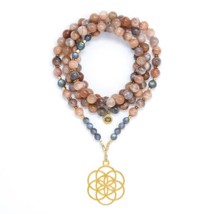 Sunstone and Labradorite Mala Necklace with Seed of Life Pendant, nude peach, gray and gold mala beads, yoga jewelry