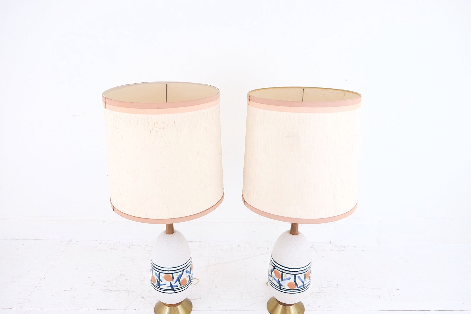 Pair Large Mid Century Modern Off White Navy Orange Abstract Pattern Ceramic Wood Brass Bases Danish Style Table Lamps