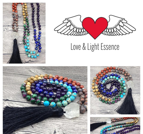 108 Chakra Mala Stone Necklace with  Clear Quartz crystal