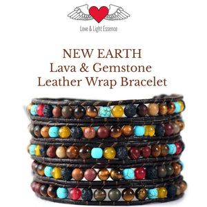 """New Earth""Lava & Gemstones Leather  Bracelet"