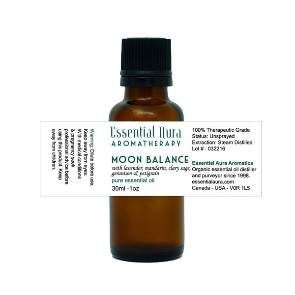bottle of Moon Balance Essential Oil Blend