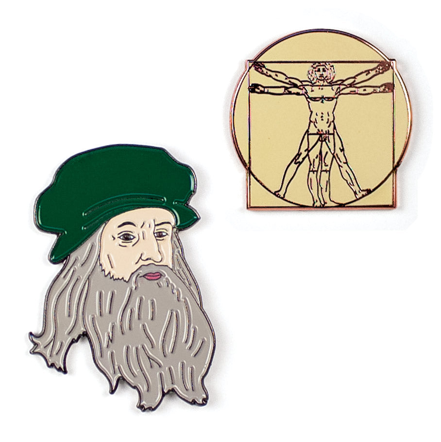 Leonardo and Vitruvian Man Pins - The Unemployed Philosophers Guild