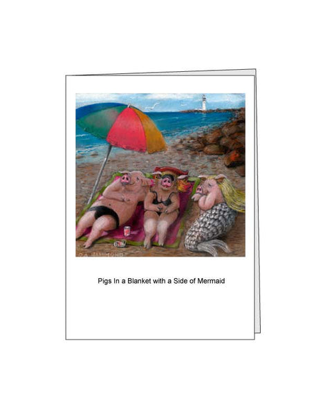 Notecard: Pigs in a Blanket with a Side of Mermaid