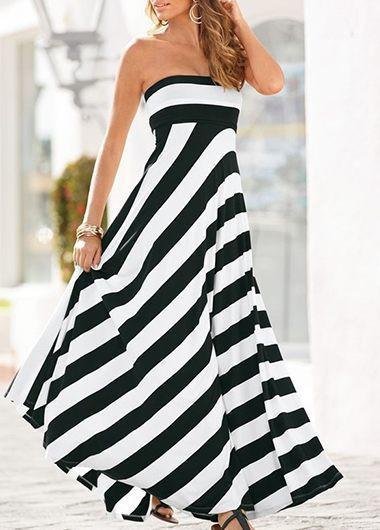 Adicolo - Strapless Striped Dress