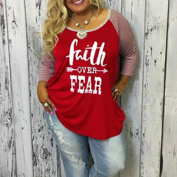 Faith Over Fear Candy Cane Striped Plus Size Tee