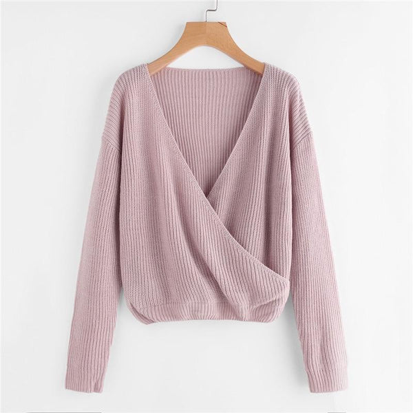 Loose V-Neck Wrap Sweater